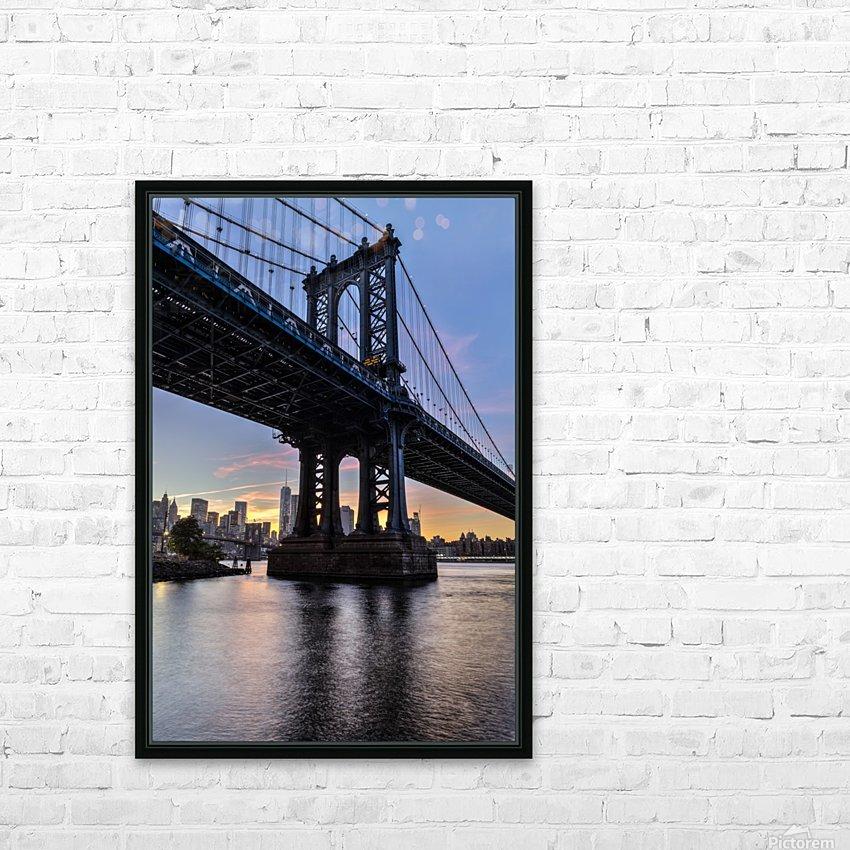 Manhattan Bridge and NYC skyline at sunset, Brooklyn Bridge Park; Brooklyn, New York, United States of America HD Sublimation Metal print with Decorating Float Frame (BOX)