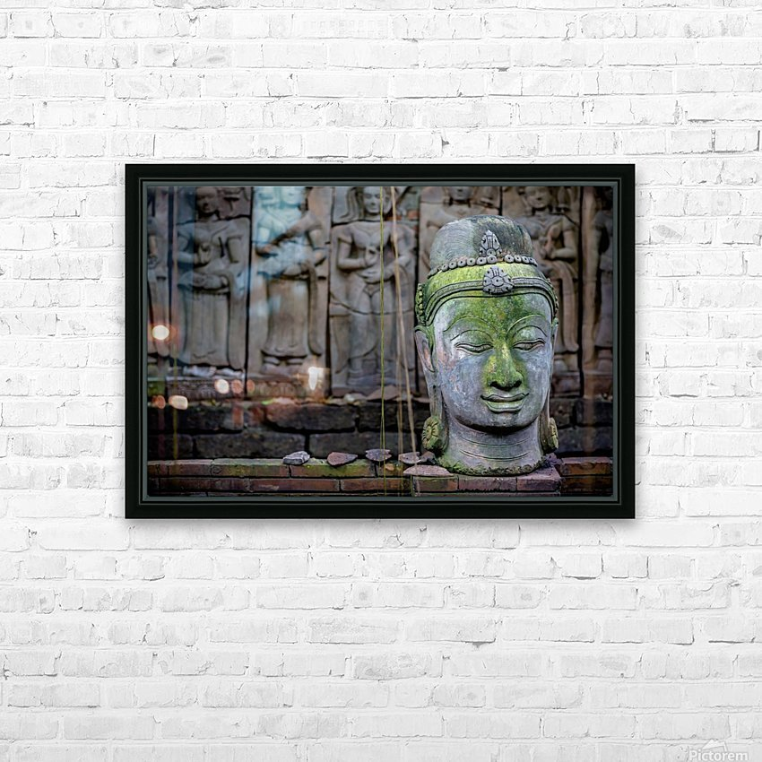 A terra cotta head of buddha sits in front of bas-relief in a terra cotta garden; Chiang Mai, Thailand HD Sublimation Metal print with Decorating Float Frame (BOX)