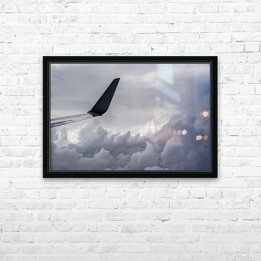 A commercial jet flies above the clouds over Illinois; United States of America HD Sublimation Metal print with Decorating Float Frame (BOX)