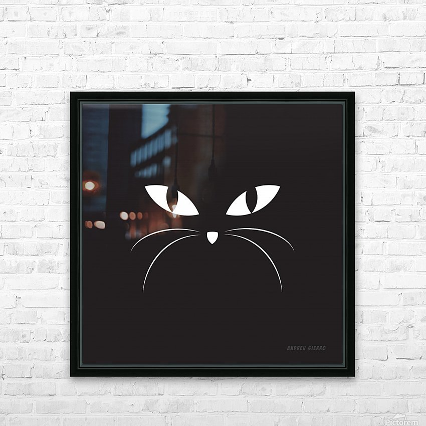 BLACK CAT HD Sublimation Metal print with Decorating Float Frame (BOX)