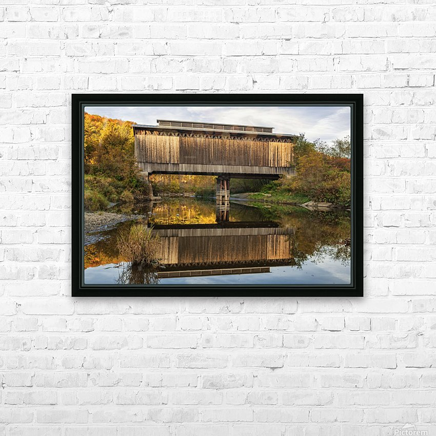 Fisher covered railroad bridge over Lamoille River in autumn; Wolcott, Vermont, United States of America HD Sublimation Metal print with Decorating Float Frame (BOX)