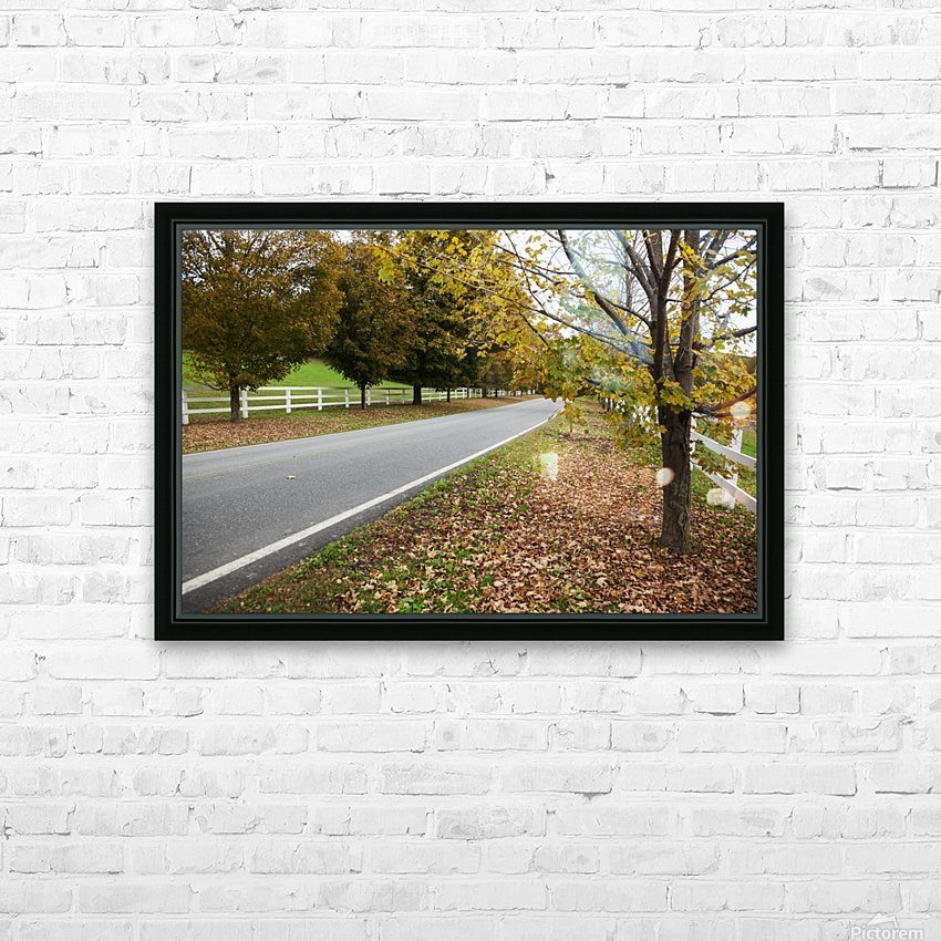 Scenic farm road in autumn; Woodstock, Vermont, United States of America HD Sublimation Metal print with Decorating Float Frame (BOX)