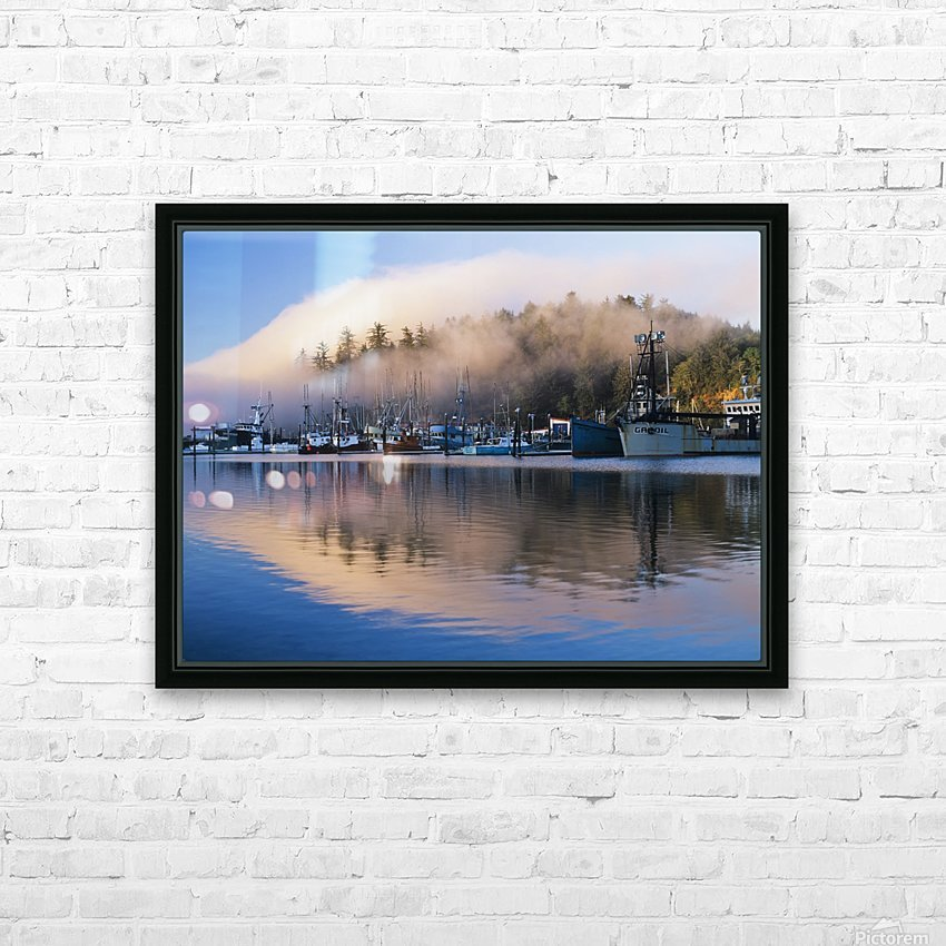 Boats dock at Winchester Bay; Oregon, United States of America HD Sublimation Metal print with Decorating Float Frame (BOX)