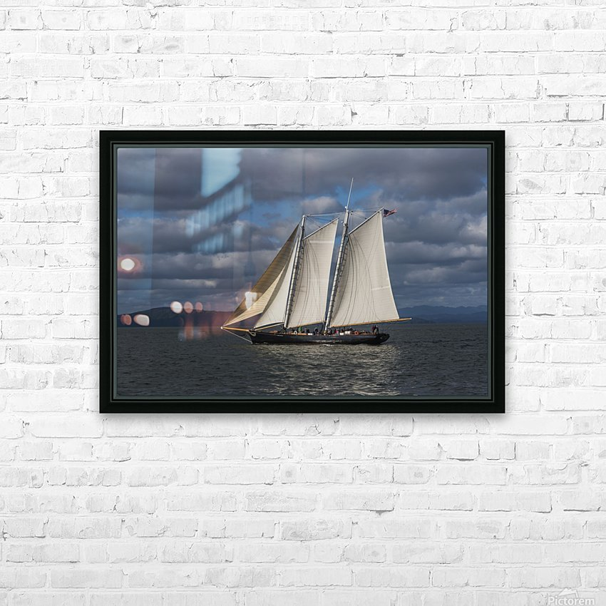 A large sailboat sails down the Columbia River; Astoria, Oregon, United States of America HD Sublimation Metal print with Decorating Float Frame (BOX)