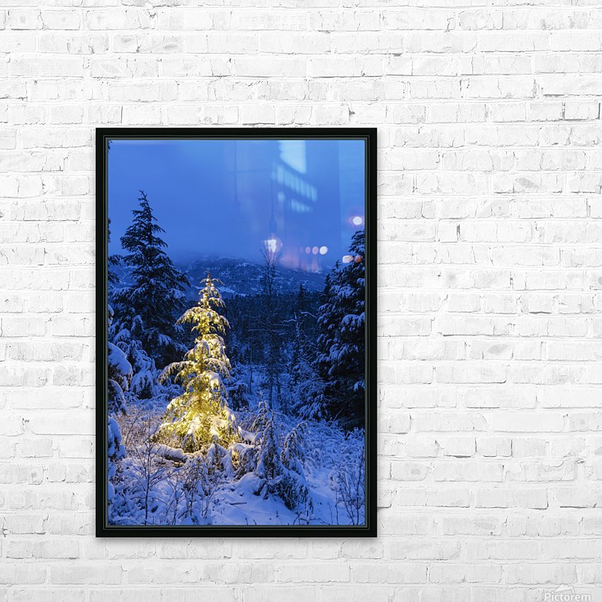 A festive Mountain Hemlock evergreen tree strung with white lights and covered in snow in a wintery landscape, Kenai Mountains; Moose Pass, Alaska, United States of America HD Sublimation Metal print with Decorating Float Frame (BOX)