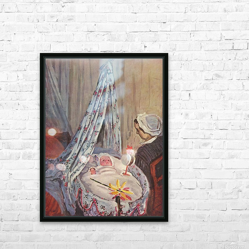 Jean Monet in the cradle by Monet HD Sublimation Metal print with Decorating Float Frame (BOX)