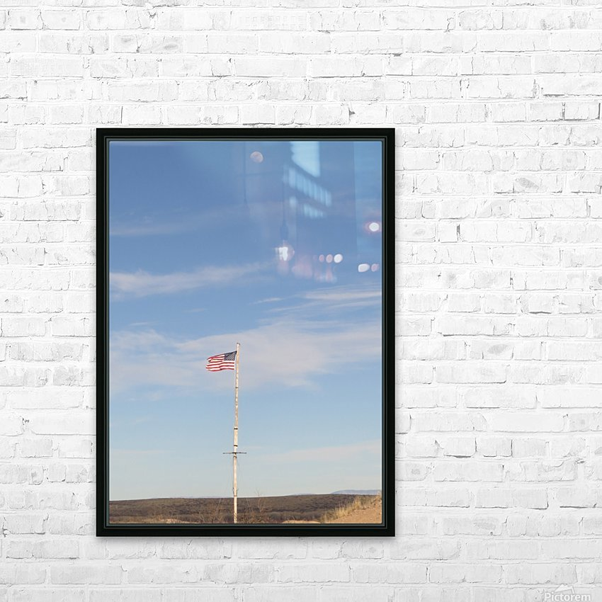 Moon and American Flag over Fort Craig VP1 HD Sublimation Metal print with Decorating Float Frame (BOX)