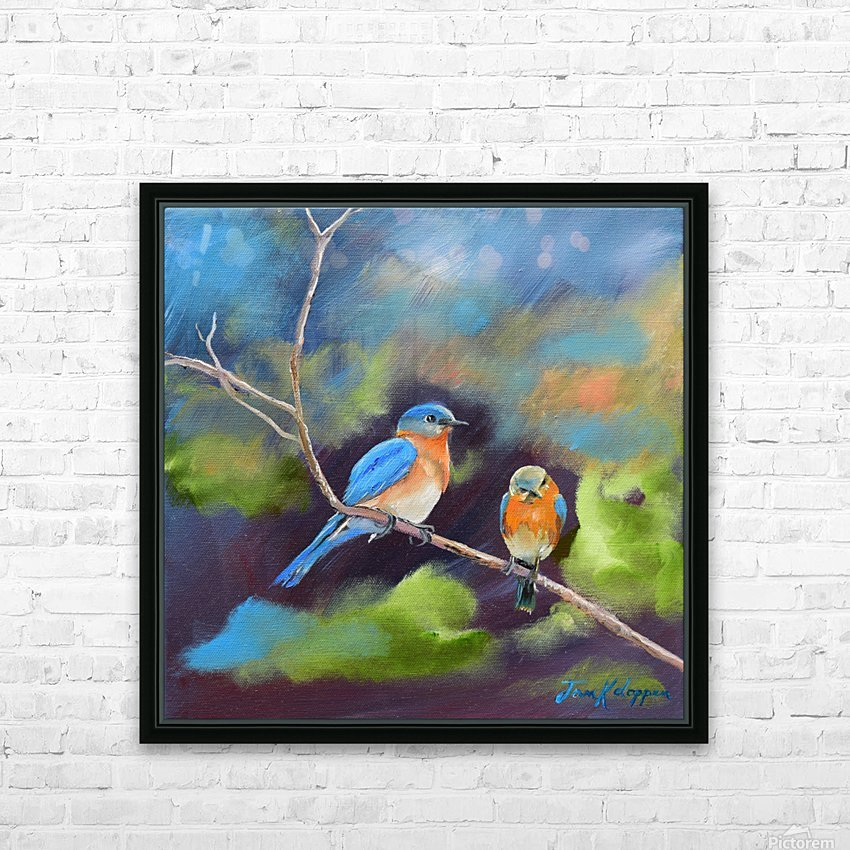BlueBirds - Soul Mates HD Sublimation Metal print with Decorating Float Frame (BOX)