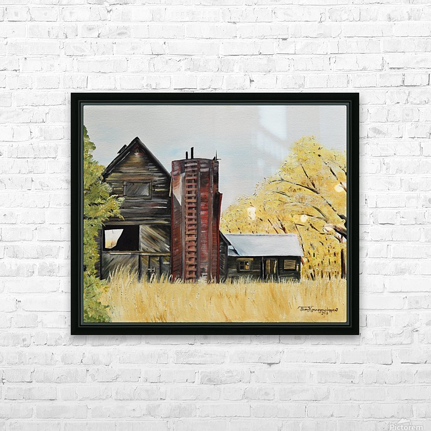 Golden Aged Barn -Washington - Red Silo  HD Sublimation Metal print with Decorating Float Frame (BOX)