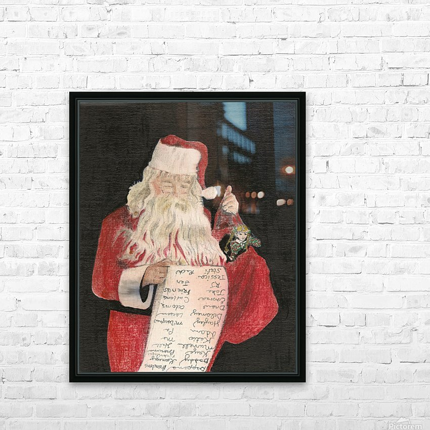 Santa Checking His List HD Sublimation Metal print with Decorating Float Frame (BOX)