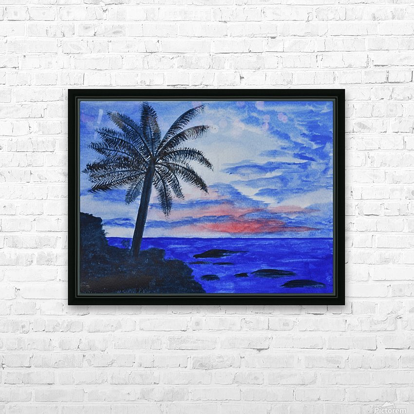 Dusk Ocean Scene HD Sublimation Metal print with Decorating Float Frame (BOX)