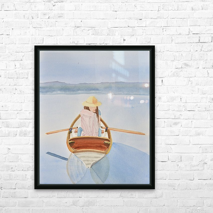 Girl in Rowboat HD Sublimation Metal print with Decorating Float Frame (BOX)