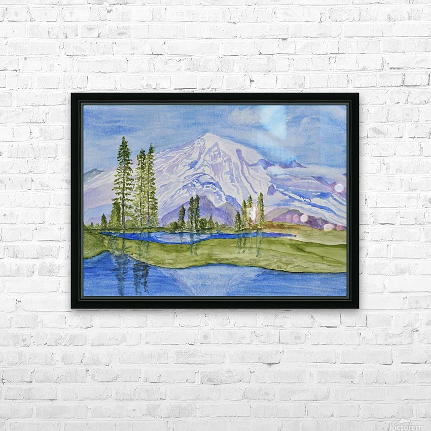 Snow Covered Mountain HD Sublimation Metal print with Decorating Float Frame (BOX)