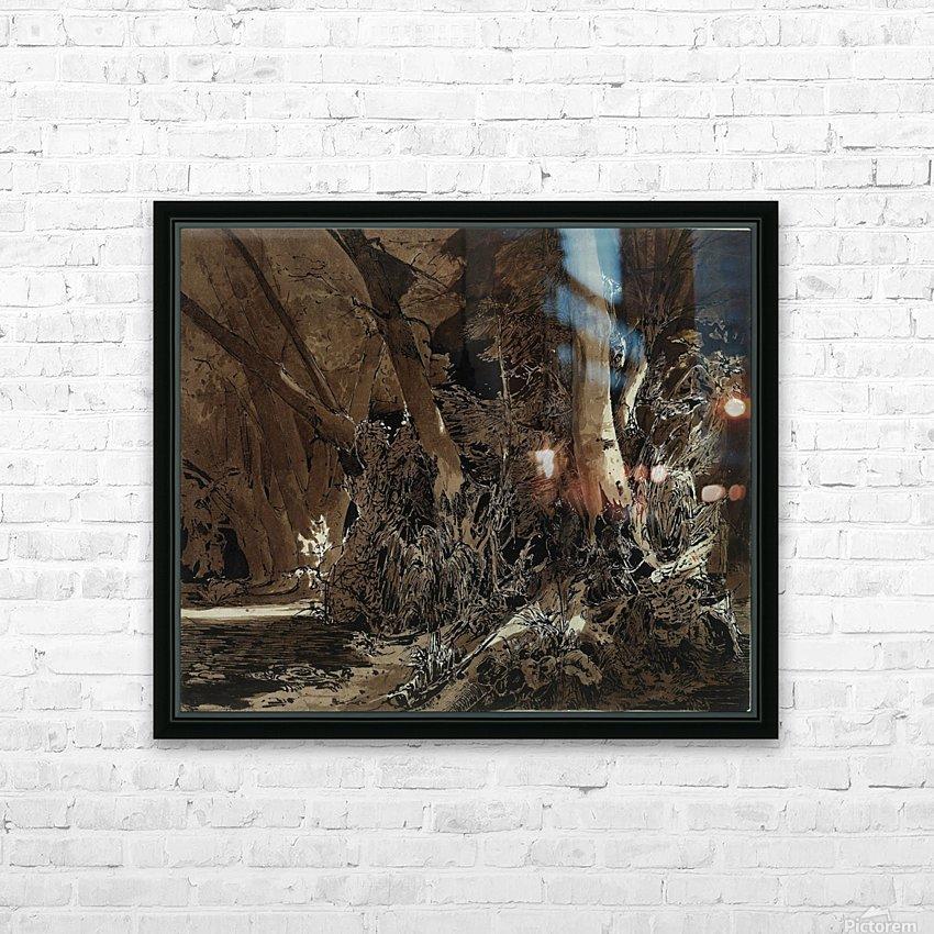Forest landscape with flowing water and two hunters HD sublimation métal imprimé avec décoration flotteur cadre (boîte)