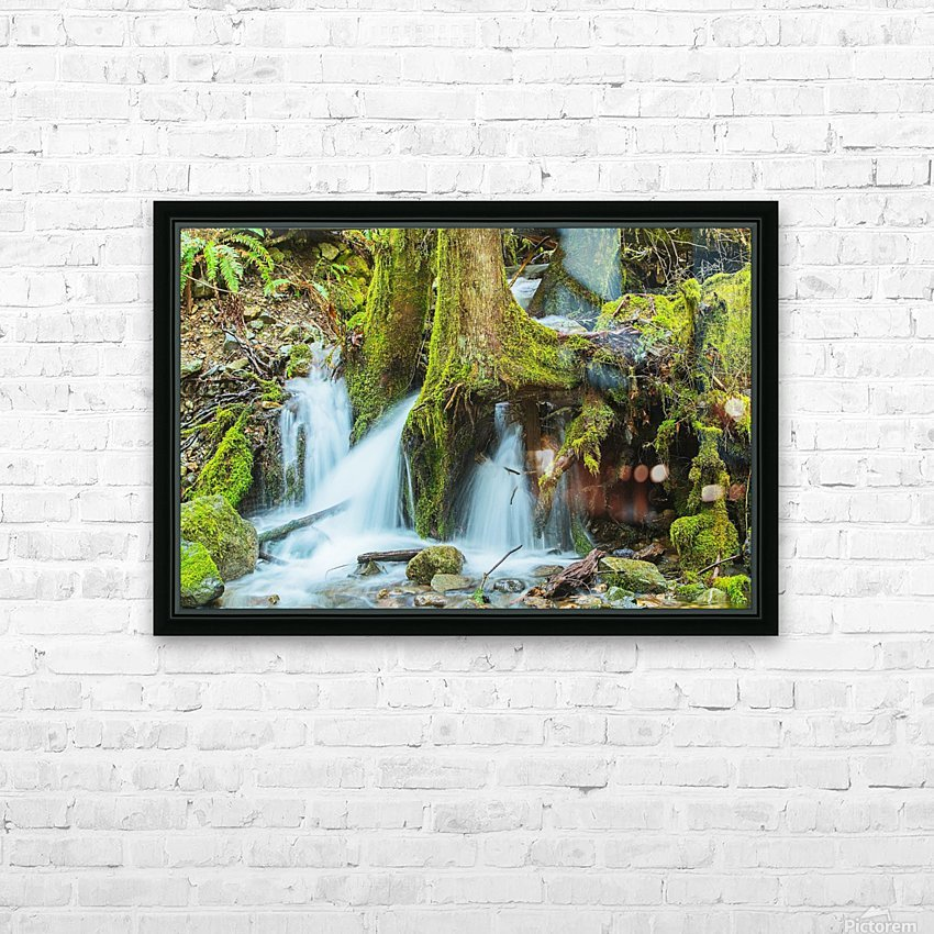 Rain Forest Cascade HD Sublimation Metal print with Decorating Float Frame (BOX)