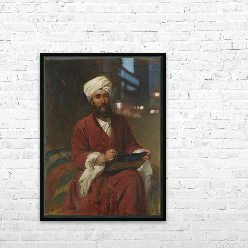 An Oriental man writing HD Sublimation Metal print with Decorating Float Frame (BOX)
