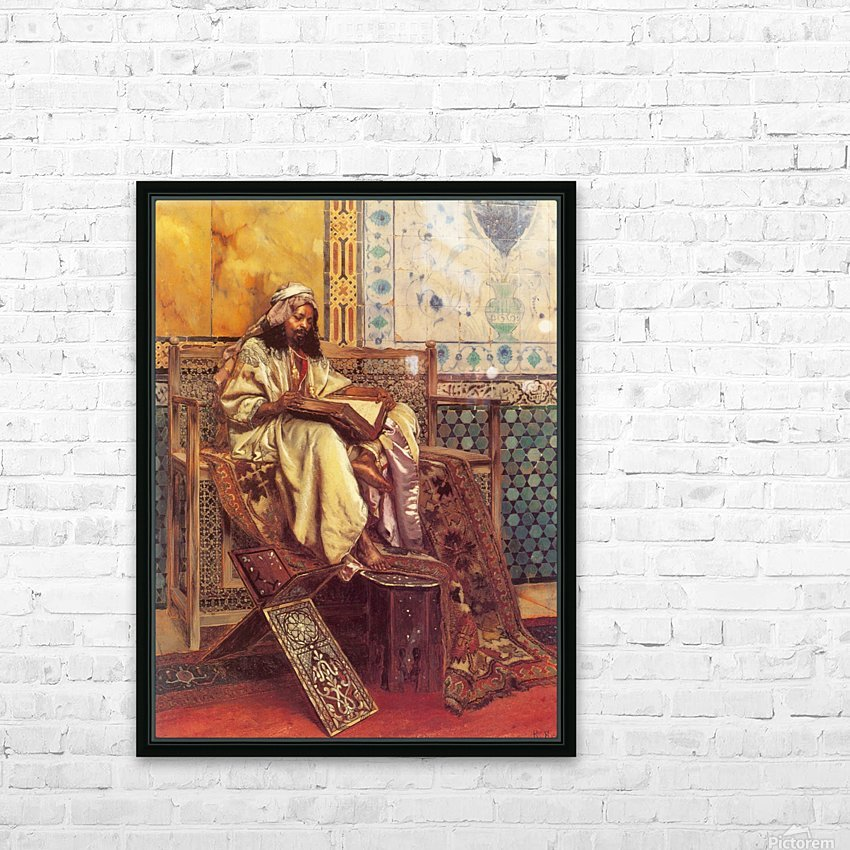 An Oriental man reading HD Sublimation Metal print with Decorating Float Frame (BOX)