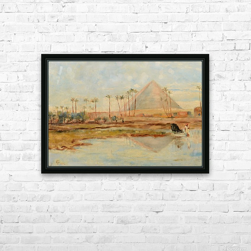 View of a pyramid HD Sublimation Metal print with Decorating Float Frame (BOX)