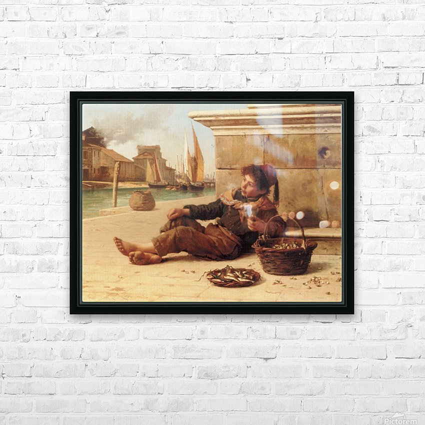 A young boy selling fish HD Sublimation Metal print with Decorating Float Frame (BOX)