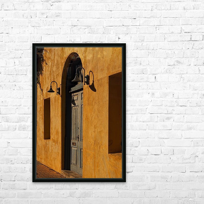 Blue Door in a Orange Wall HD Sublimation Metal print with Decorating Float Frame (BOX)