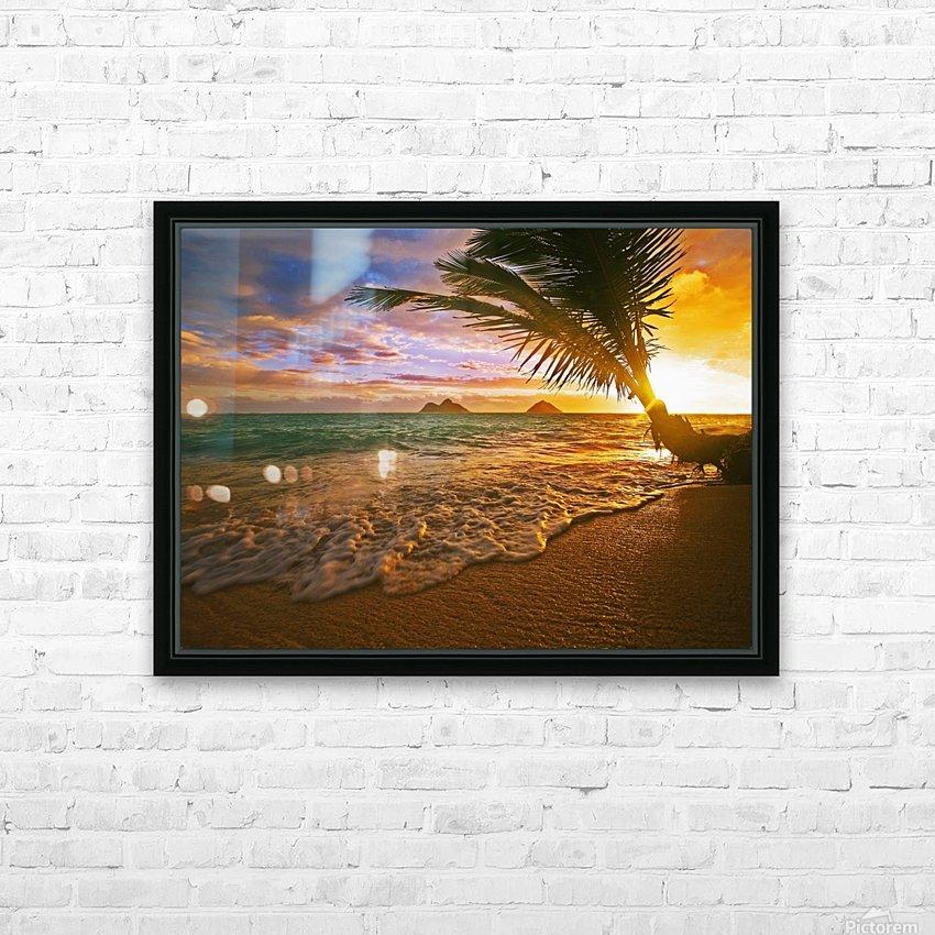 Lanikai Beach Sunset HD Sublimation Metal print with Decorating Float Frame (BOX)
