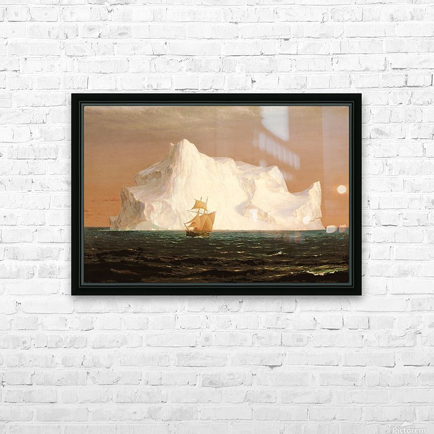 A boat sailling to an iceberg HD Sublimation Metal print with Decorating Float Frame (BOX)