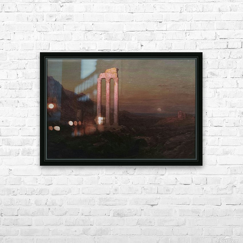 Moonrise Over Greece HD Sublimation Metal print with Decorating Float Frame (BOX)