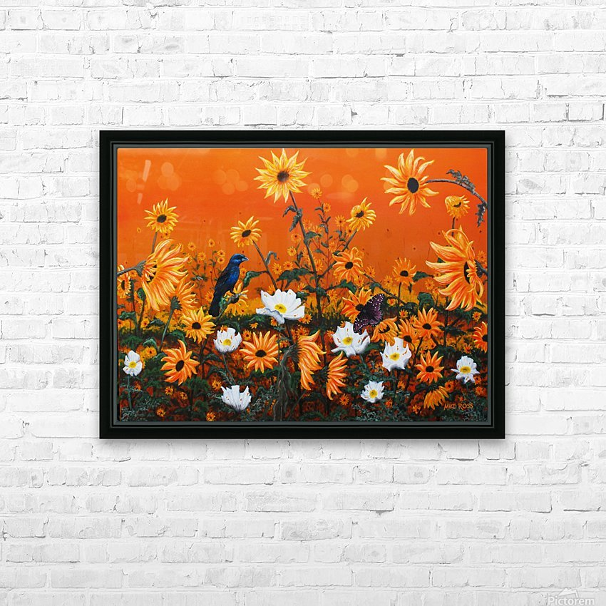 Sunflowers & Prickly Poppies HD Sublimation Metal print with Decorating Float Frame (BOX)