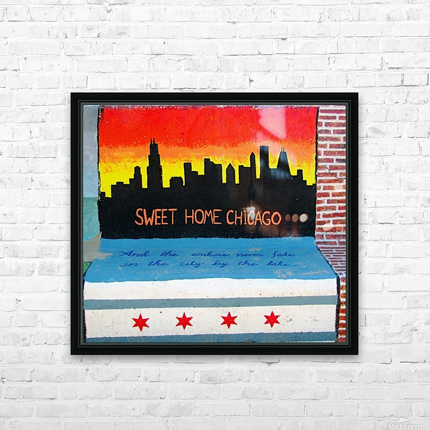 Chicago - Bench Art in Rogers Park HD Sublimation Metal print with Decorating Float Frame (BOX)
