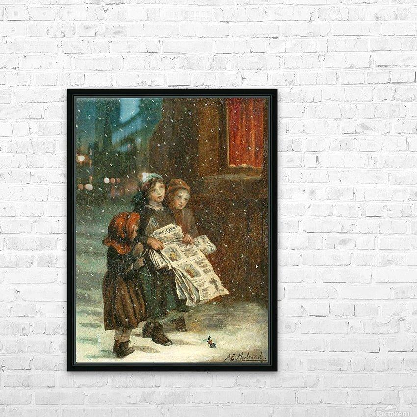 Small children with newspapers HD sublimation métal imprimé avec décoration flotteur cadre (boîte)