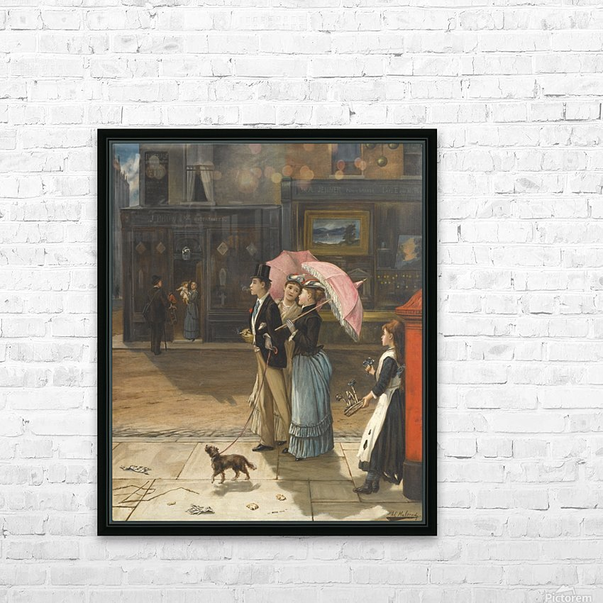 A young family walking the dog HD Sublimation Metal print with Decorating Float Frame (BOX)