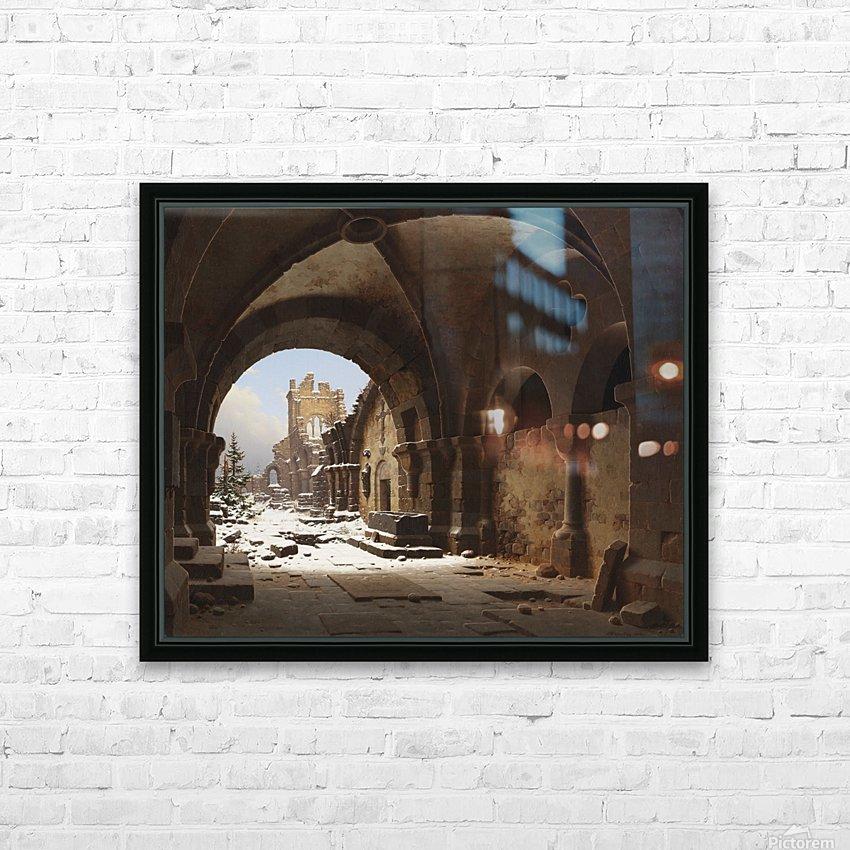 Blick auf die Kirchenruine im Winter HD Sublimation Metal print with Decorating Float Frame (BOX)