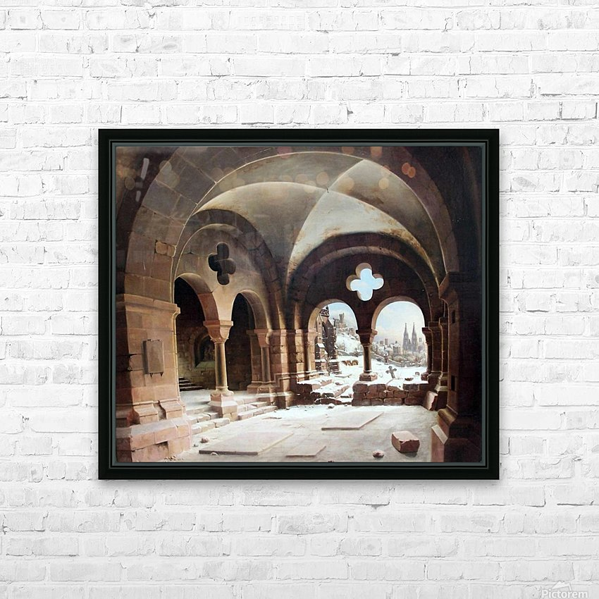 Abbey Cloister in Winter HD Sublimation Metal print with Decorating Float Frame (BOX)