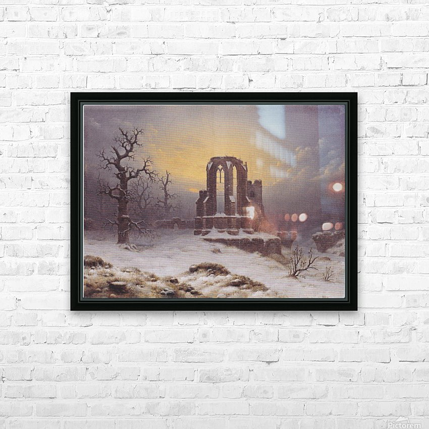 Church Ruine in the Snow HD Sublimation Metal print with Decorating Float Frame (BOX)
