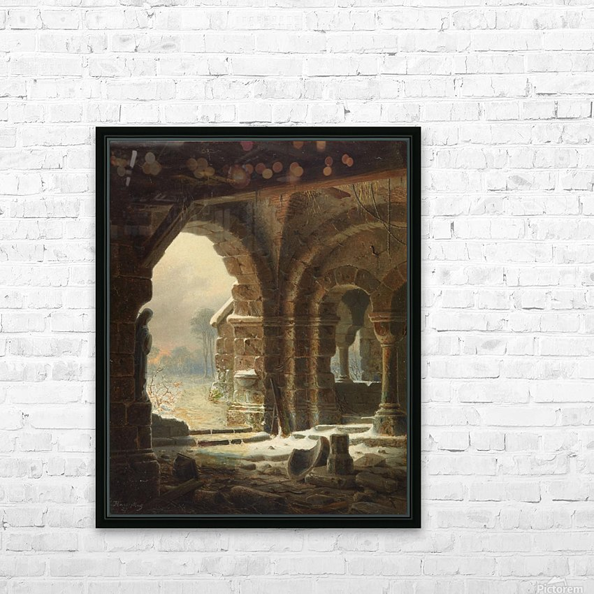 Romanische Kirchenruine im Winter - 1827 HD Sublimation Metal print with Decorating Float Frame (BOX)