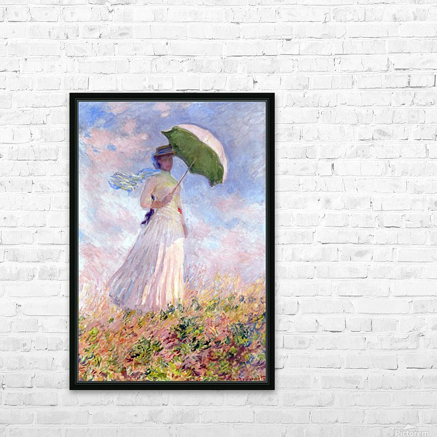 Nainen ja paivanvarjo by Monet HD Sublimation Metal print with Decorating Float Frame (BOX)