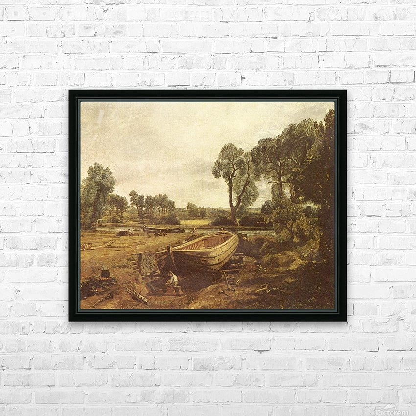 Landscape with a boat and a tree HD Sublimation Metal print with Decorating Float Frame (BOX)