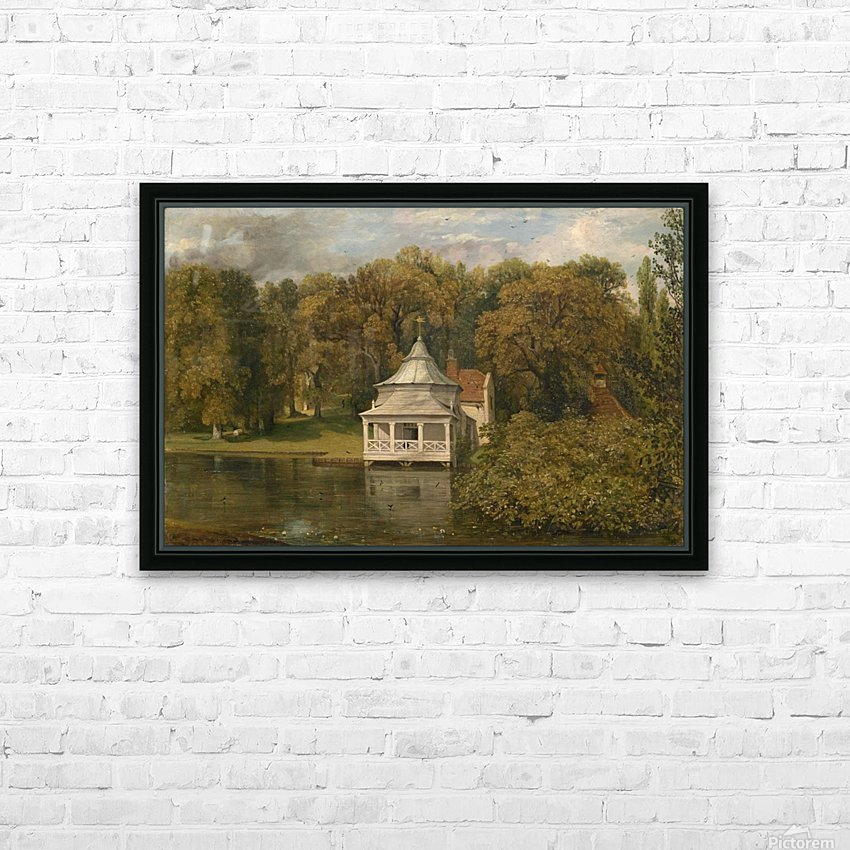 A small white cottage by the river HD Sublimation Metal print with Decorating Float Frame (BOX)