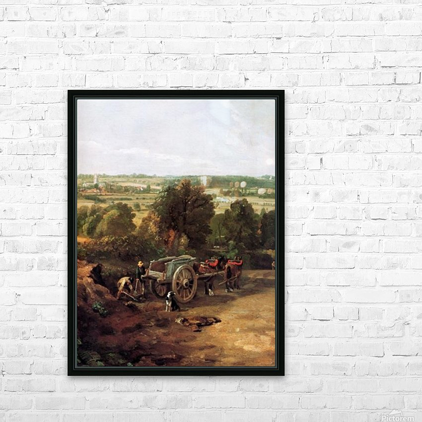 A carriage and a dog at the edge of a city HD Sublimation Metal print with Decorating Float Frame (BOX)