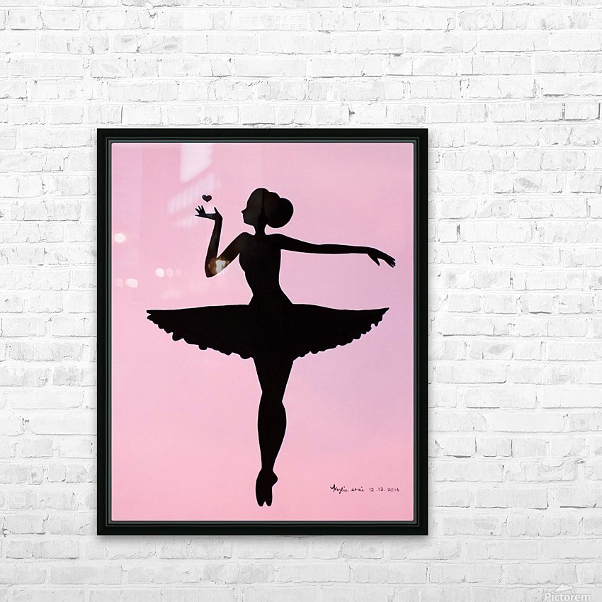 Ballerina Sillhouette (Pink HD Sublimation Metal print with Decorating Float Frame (BOX)