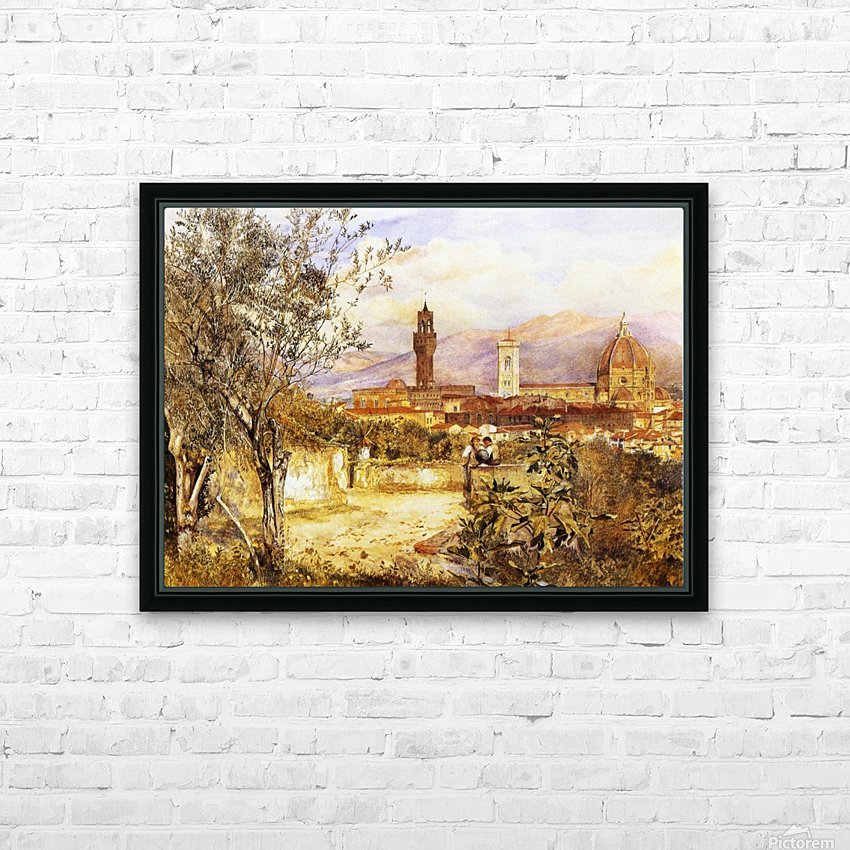 View of the Duomo fro the Mozzi Garden Florence 1877 HD Sublimation Metal print with Decorating Float Frame (BOX)