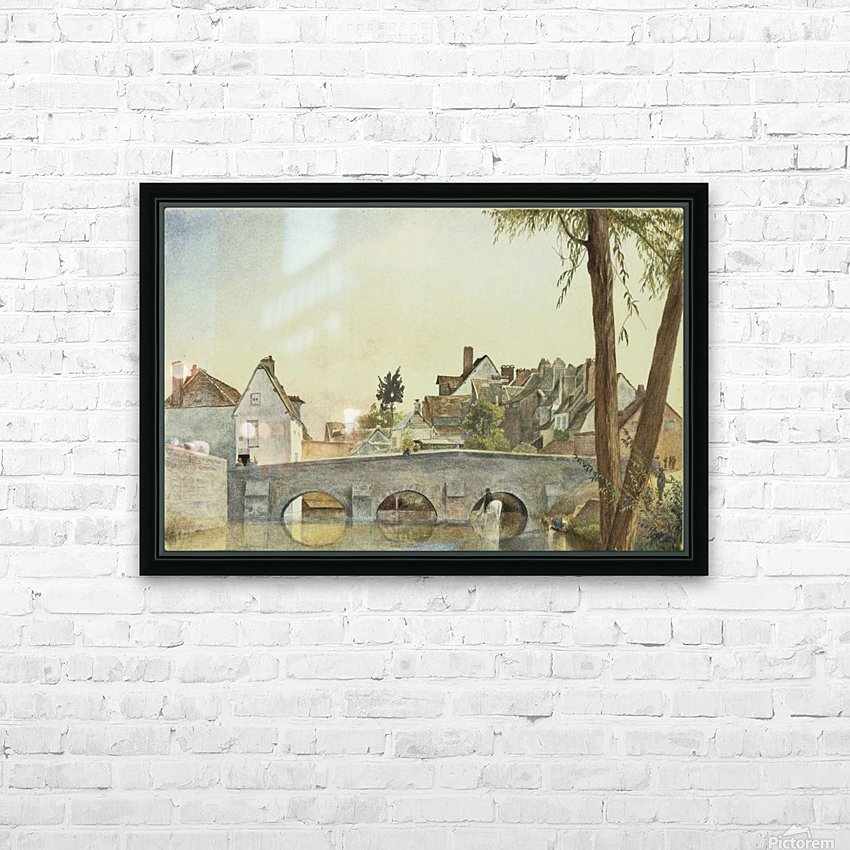 Houses behind a bridge HD Sublimation Metal print with Decorating Float Frame (BOX)