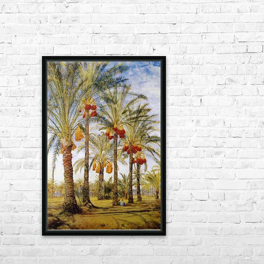 A street with dates trees HD Sublimation Metal print with Decorating Float Frame (BOX)