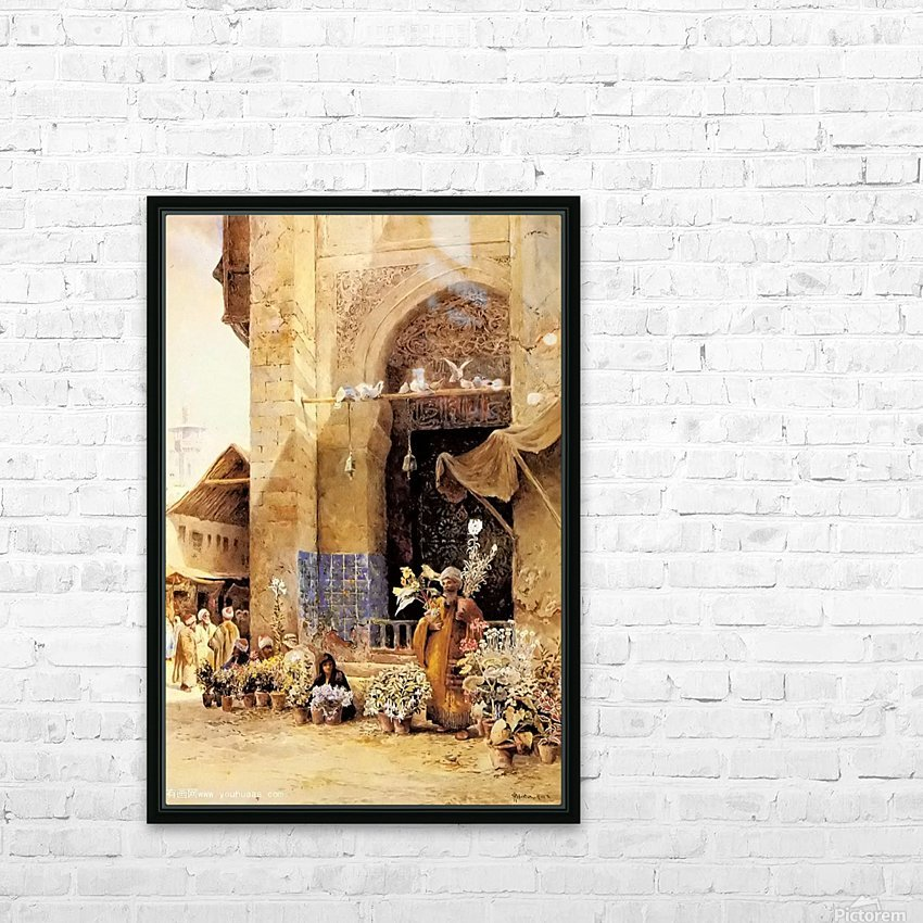 The flower market, Damascus HD Sublimation Metal print with Decorating Float Frame (BOX)