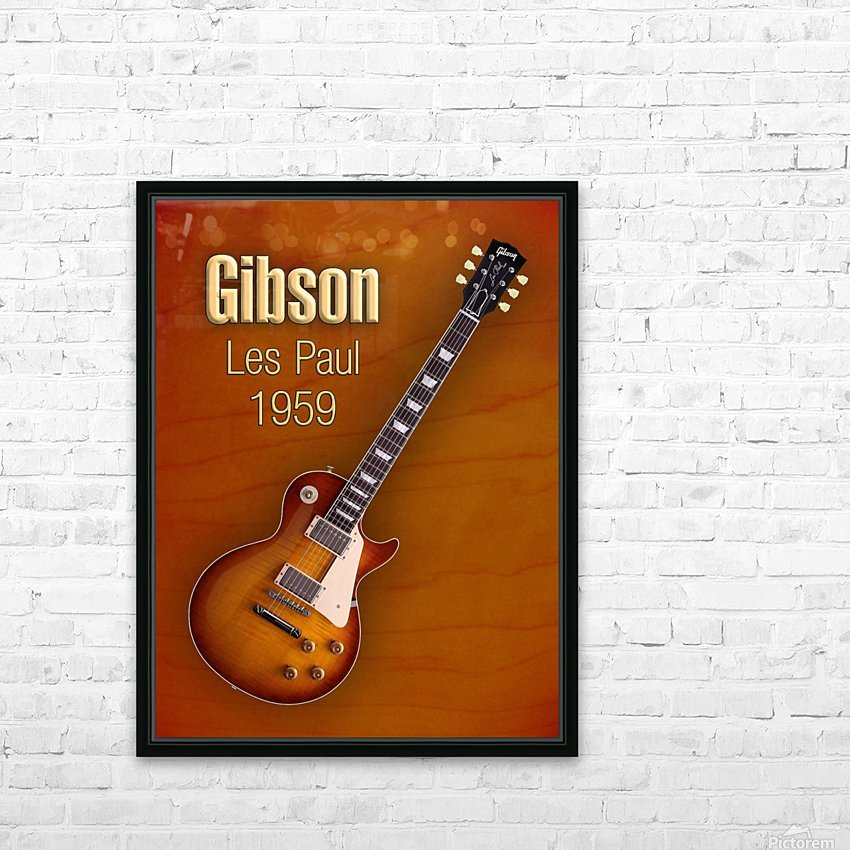 Vintage Gibson Les paul 1959 HD Sublimation Metal print with Decorating Float Frame (BOX)