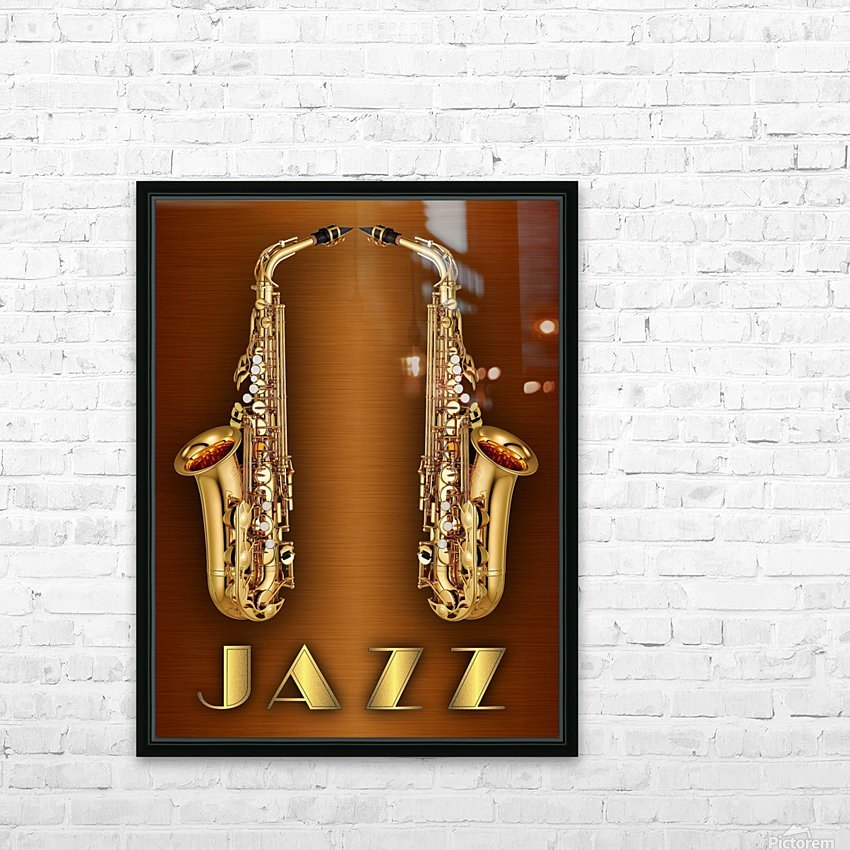 Gold jazz  HD Sublimation Metal print with Decorating Float Frame (BOX)