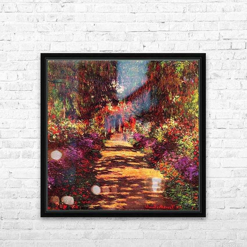 Path in Monets garden in Giverny by Monet HD Sublimation Metal print with Decorating Float Frame (BOX)