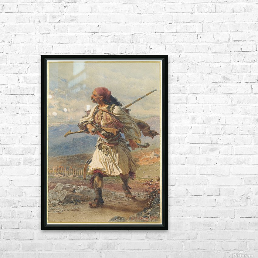 Greek Warrior HD Sublimation Metal print with Decorating Float Frame (BOX)