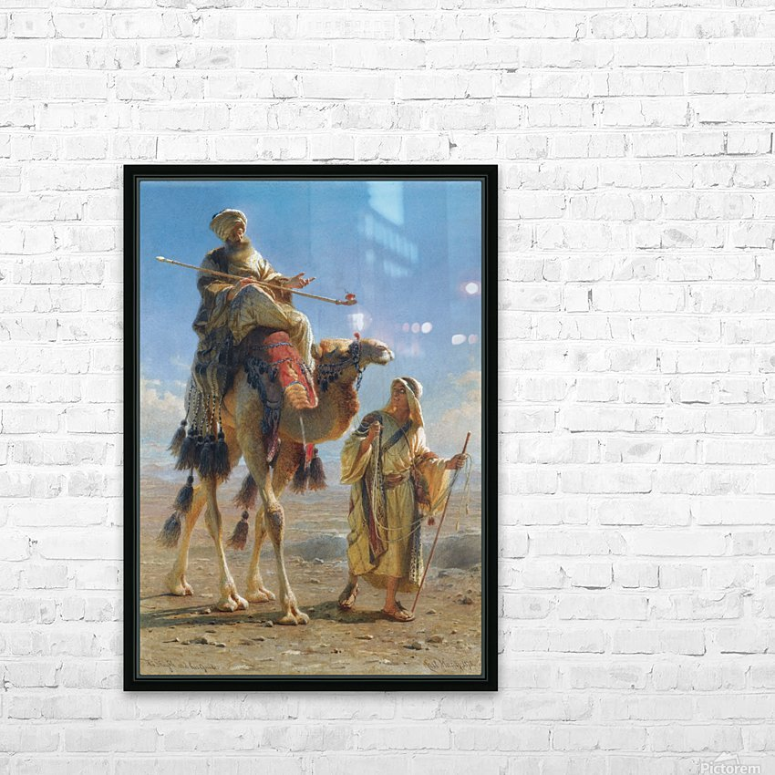 Riding the camel HD Sublimation Metal print with Decorating Float Frame (BOX)