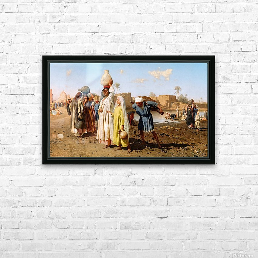 People outside a city HD Sublimation Metal print with Decorating Float Frame (BOX)